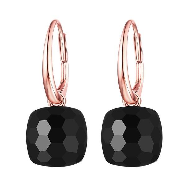Vedantti Magic Honeycomb Cut Black Onyx Gemstone Protector Leverback Earring