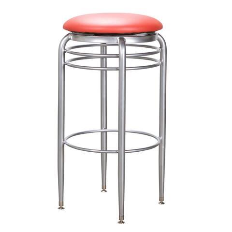 Yulin 31-inch Red Metal Swivel Barstool