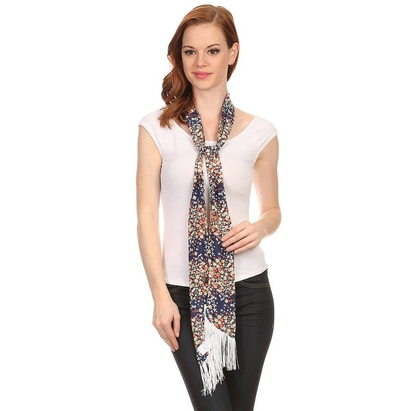 Ladies Floral Navy Skinny Scarf Sash with Fringe