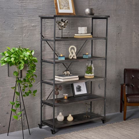 """Farrells Industrial 5-Shelf Bookcase by Christopher Knight Home - 41.00"""" W x 15.25"""" D x 68.00"""" H"""