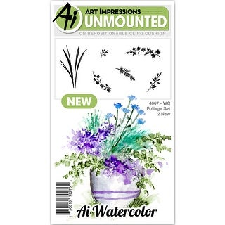 """Art Impressions Watercolor Cling Rubber Stamps 4""""X7""""-Foliage 2"""