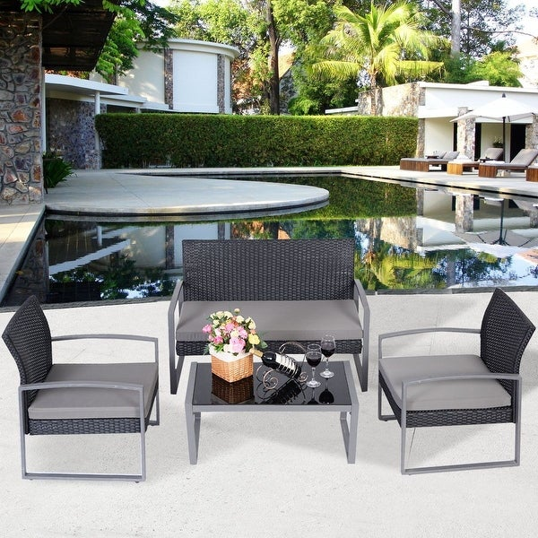 Costway 4 PCS Outdoor Patio Garden Black Rattan Wicker Sofa Set