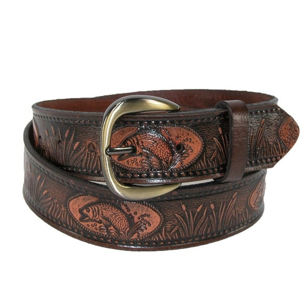 Hickory Creek Men's Leather Fish Embossed Bridle Belt