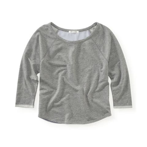 Aeropostale Womens Scoop Crew Sweatshirt, Grey, Medium