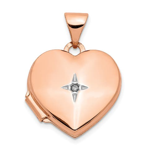 14K Rose Gold Polished 15mm Heart with Diamond Locket with 18-inch Cable Chain by Versil
