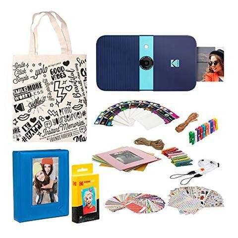 KODAK Smile Instant Print Digital Camera (Blue) Photo Frames Kit