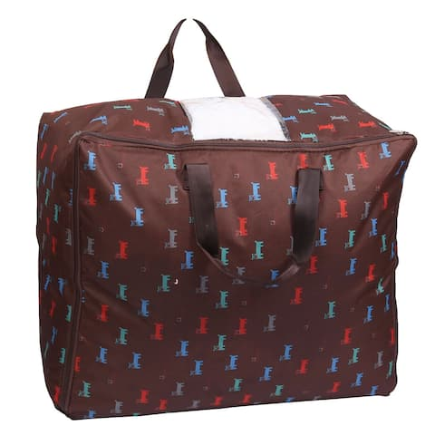 Home Dog Printed Zippered Clothes Quilts Blankets Storage Bag Box Coffee Color