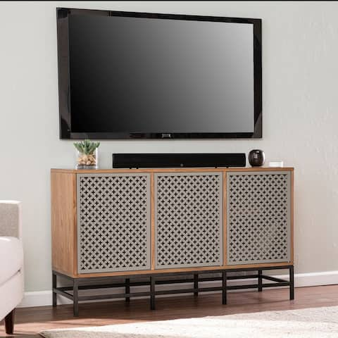 Home Selby Contemporary Natural Wood Media Cabinet