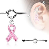 Gem Paved Pink Awareness Ribbon Charm Dangle Industrial Barbell (Sold Individually)