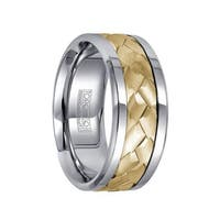 White Cobalt Grooved Polished Men's Ring with 14k Yellow Gold Hammered Inlay by Crown Ring - 9mm