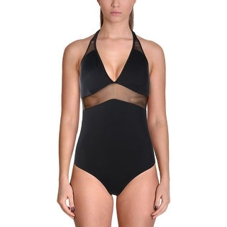 Ekouaer Womens Mesh Inset Halter Monokini Swimsuit - L