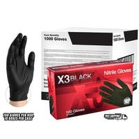 AMMEX BX3 Black Nitrile Ind Latex Free Disposable Gloves 1000 Counts