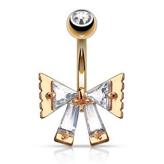 Triangle CZ and Princess Cut CZ Ribbon Surgical Steel Belly Button Navel Ring - 14GA (Sold Ind.)