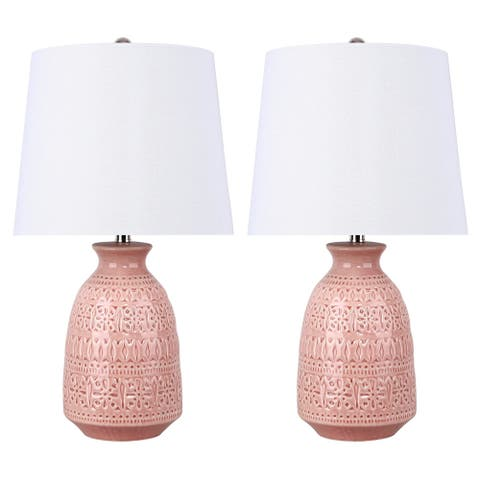 """20"""" Ceramic Table Lamp w/ Patterned Base & Linen Shade (Set of 2) - 20"""