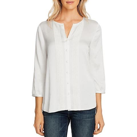 Vince Camuto Womens Rumple Button-Down Top Hammered Satin Split Neck