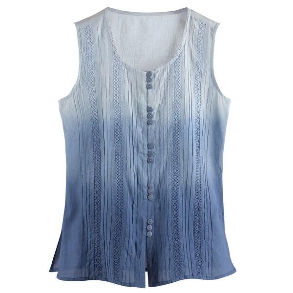 Women's Sleeveless Blouse - Abstract Dip-Dye Button Down Tank Top