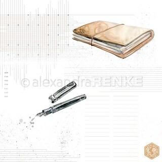"Pen & Book With Pattern - Alexandra Renke Midori Basic Design Paper 12""X12"" (25/Pack)"