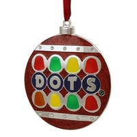 "3.5"" Silver Plated Dots Candy Logo Christmas Ornament with European Crystals"
