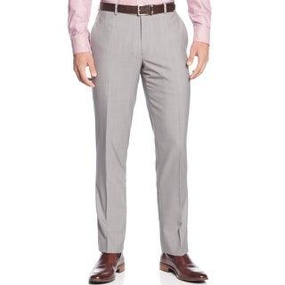 Bar III Slim Fit Mini Check Flat Front Dress Pants Light Grey 30 x 32