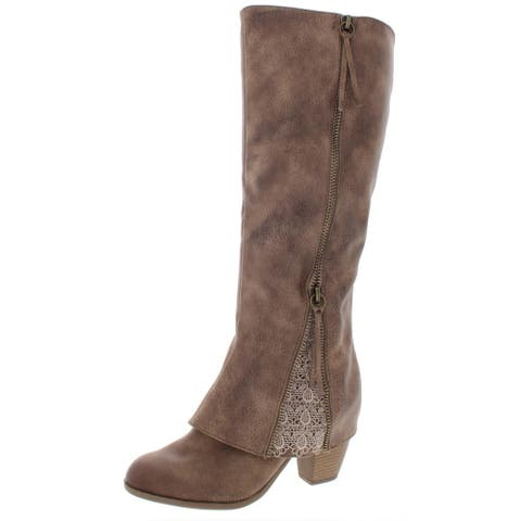 Not Rated Women's Spiffy Faux Leather Lace Trim Tall Stacked Heel Knee-High Boot - Taupe