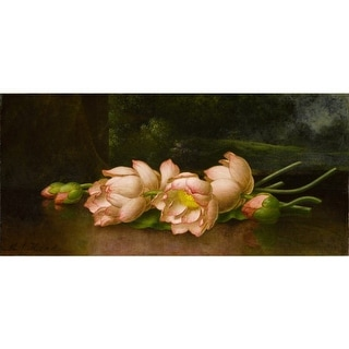 Easy Art Prints Martin Johnson Heade's 'Lotus Flowers A Landscape Painting in the Background' Premium Canvas Art