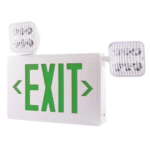 "Elco EE94H 22"" Wide LED Exit Sign with Adjustable Emergency Light Heads - - White / Green"