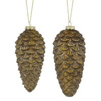 """Club Pack of 12 Bronze Colored Distressed Finish Pine Cone Glass Ornaments 7.5"""""""