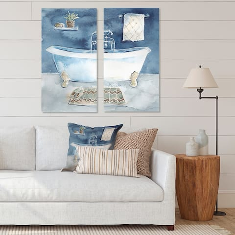 Designart 'Watercolor Bathroom I' Vintage Canvas Wall Art Print 2 Piece Set