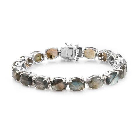 Platinum Over 925 Silver Labradorite Bracelet Size 7.25 In Ct 45.2 - Bracelet 7.25''