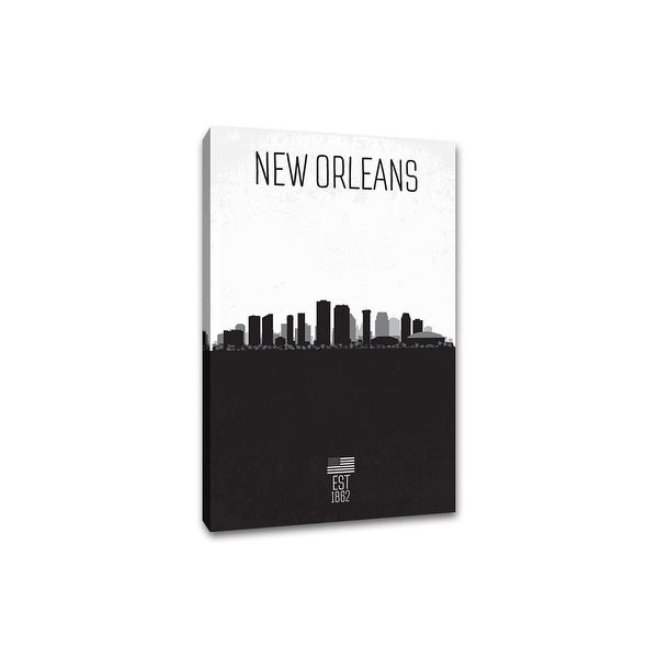 New Orleans - Distressed Skyline Art - 16x24 Gallery Wrapped Canvas Wall Art B&W