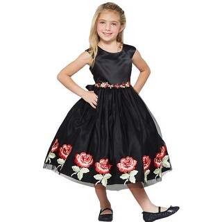 Good Girl Little Girls Black Lace Floral Sleeveless Flower Girl Dress
