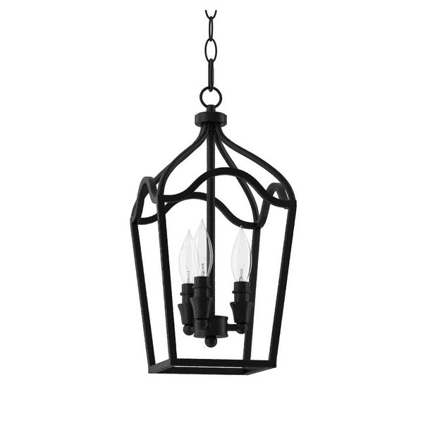 "Park Harbor PHPL5353 Textured Black 3-Light 9"" Wide Mini Foyer Pendant with Lantern Cage Style Frame - Textured Black - n/a"