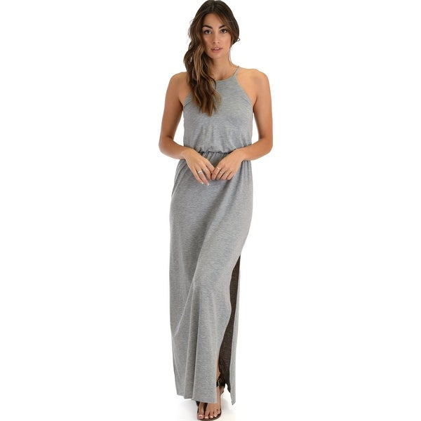 e8ab0336a6c18 Cherish The Day Grey Maxi Dress With Cinched Waist-Grey-Large