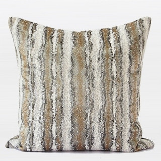 """G Home Collection Luxury Light Gold Mix Color Stripe Pattern Metallic Chenille Pillow 20""""X20"""""""