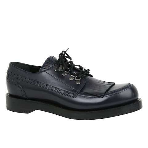 Gucci Men's Fringed Brogue Lace-Up Dark Blue Leather Shoes 358271 4009