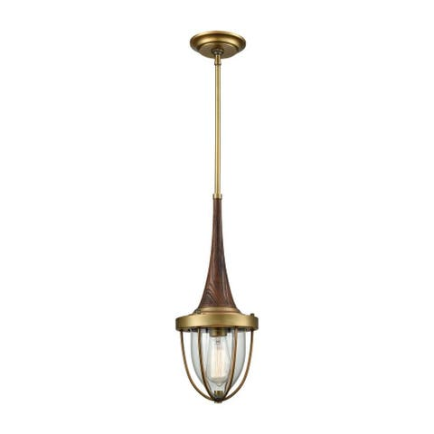 Weld Place - One Light Mini Pendant Brushed Antique Brass Finish with Clear Blown Glass