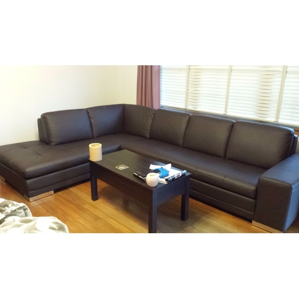 Shop Larry Dark Brown Leather Reverse Sectional Sofa Chaise Set