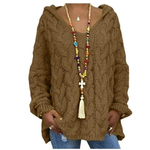 Twist Knit Hoodie Sweater
