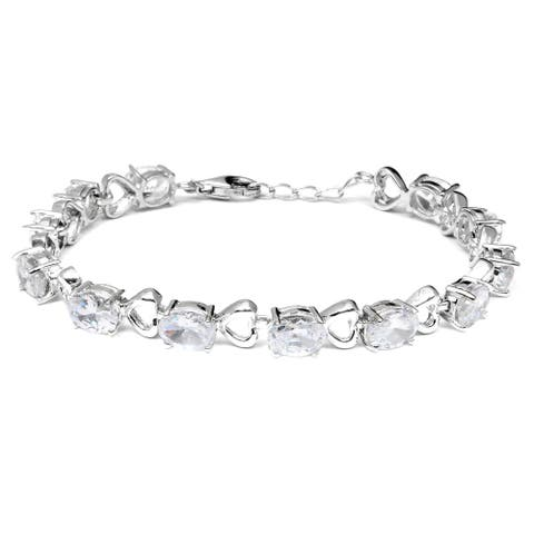 White Cubic Zirconia Sterling Silver Oval Eternity Bracelet by Orchid Jewelry