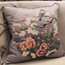 """Luxury Gray Purple Bird Round Printing Pillow 18""""X18"""""""