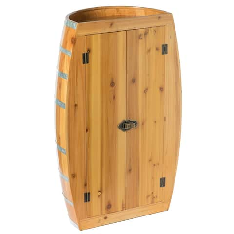 Half Barrel Cabinet Wine Storage With Lockable Double Doors