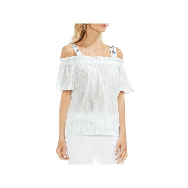 b0f4cd921018c1 Shop Vince Camuto Womens Peasant Top Cold Shoulder Embroidered - Free  Shipping On Orders Over $45 - Overstock.com - 26398835