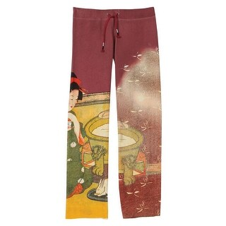 Women's Asian Print French Terry Sweatpants - Red with Dragonflies