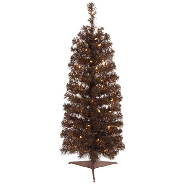 4.5' Pre-Lit Mocha Brown Artificial Pencil Tinsel Christmas Tree – Clear Lights