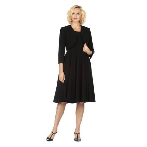 Women's 2pc Multi-Paneled Flare Dress w/ Bolero Jkt