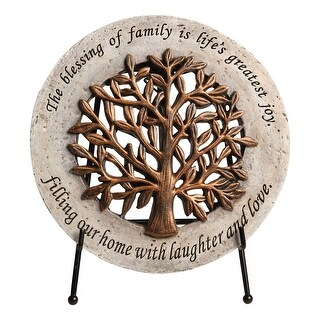 """Roman The Blessing Of Family Wall Plaque - Cast Stone Sign with Metal Display Easel, 6 1/2"""" - 6.5 in. x 6.5 in. x .4 in."""