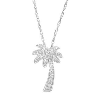 Diamond Palm Tree Pendant in 10k White Gold (1/10 cttw, J-K Color, I2-I3 Clarity), 18""