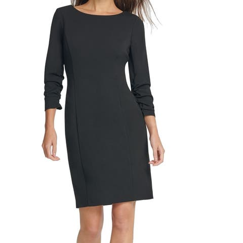 DKNY Women's Dress Solid Black Size 8 Sheath Ruched 3/4 Sleeve