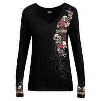 Harley-Davidson Women's Skulls & Roses Long Sleeve V-Neck Shirt, Black R002146