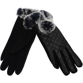 Fur Trim Quilted Gloves Fingertips Touchscreen Texting, Fall Winter, Cell Phone Text
